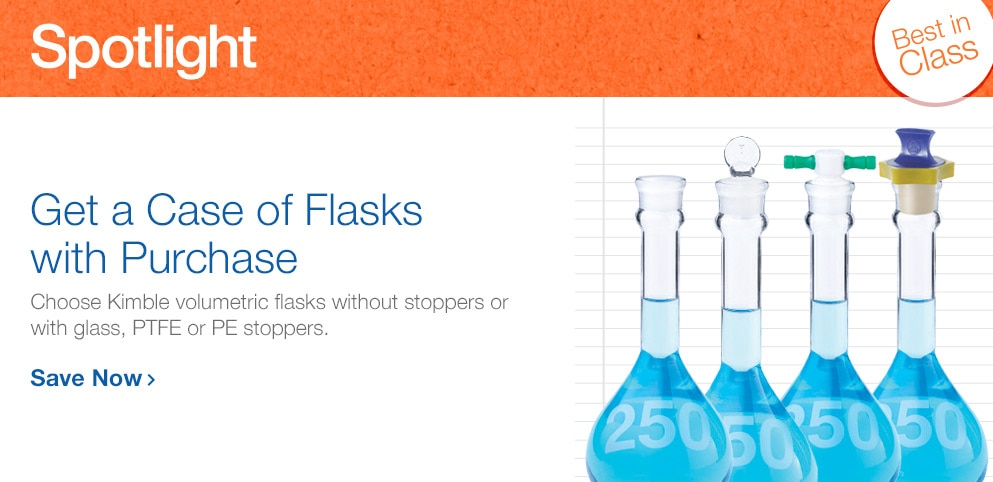 Buy 3, Get 1 on Cases of Kimble Flasks