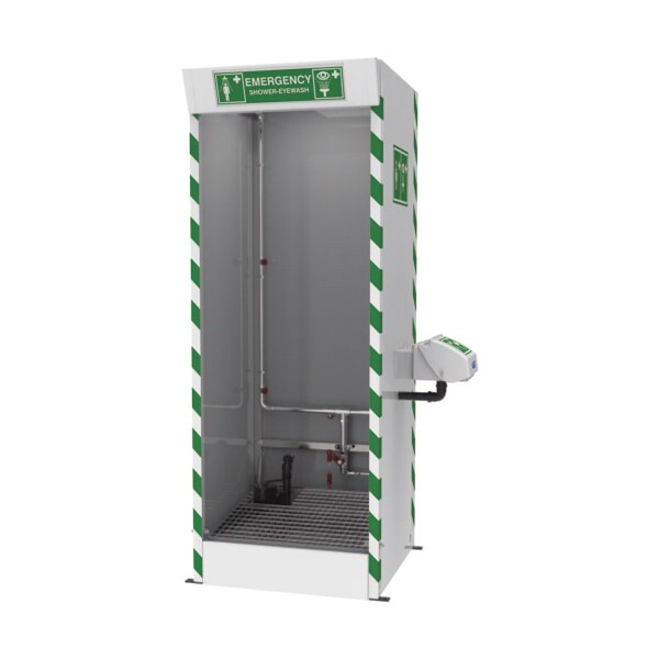 Justrite™ Emergency Cubicle Shower with Strip Screens and Sump Pump